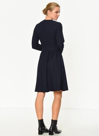 Asymmetry Uzun Kollu Elbise Lacivert